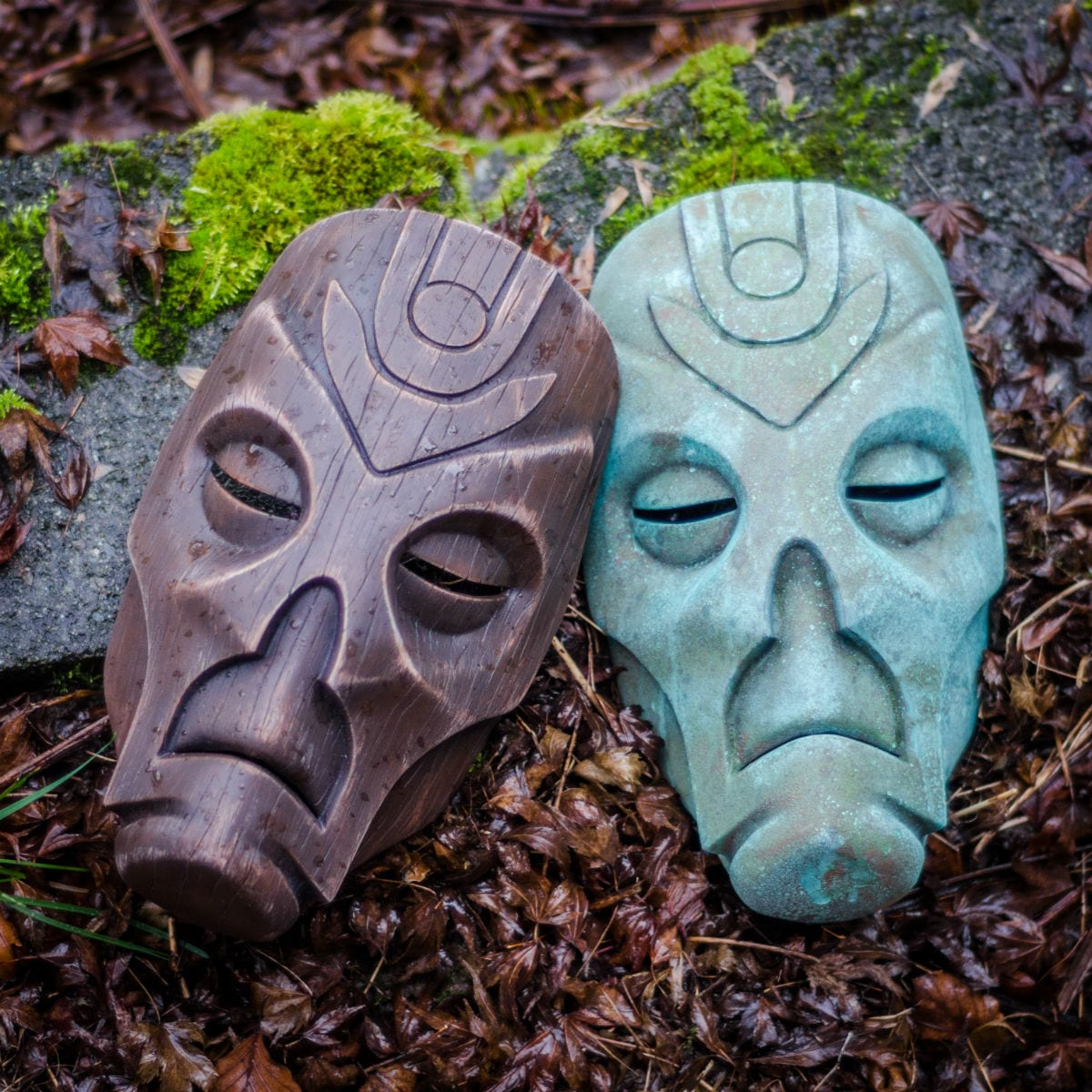 A pair of Skyrim Dragon Priest masks that were made using slush casting.