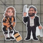 Bill and Britt are stickers now! These are the cartoon version of us in our Destiny Sweeper Bot and Old Man Logan costumes.